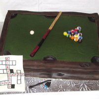 Pool Table This cake was done for a woman my brother knows. She loves to play pool and do croswords, hence the birthday msg. Cake was French vanilla...