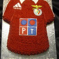 Benfica Jersey portugese team benfica jersey. marble cake with chocolate buttercream. cake is done in buttercream stars with fondant acents. symbol was...