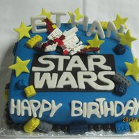 Star Wars Lego there was alot to fit on this cake but the person didn't want to go bigger. lego star wars cake with a toy topper.