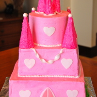 Pink Castle made for a 7 year old girl who wanted a pink castle. the towers are made of ice cream cones