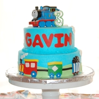 Choo Choo Train Cake   8 and 10 in cake covered in BB with fondant decorations