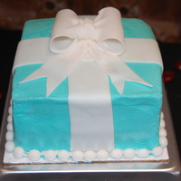 Tiffany Box made to look like a Tiffany and Co Jewelry Box. Watched a video on Youtube to learn how to make the bow. The icing on the front of the cake...