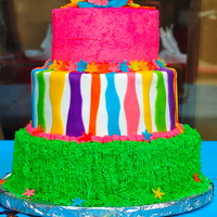 Luau Fun 6in, 8in, 10in cakes iced in buttercream with fondant accents. The pink tier was coated with pink sprinkles.
