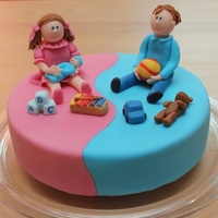 Twins 1St Birthday Boy and Girl on a shared cake