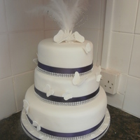 Butterfly Wedding Cake 3 tier round wedding cake