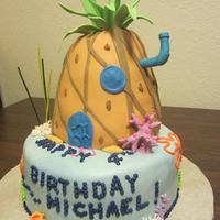 Spongebob Square Pants Ocean And Pineapple House! *SpongeBob! Fondant covered cake on bottom and rice crispy shaped and fondant covered pineapple on top. Made the pineapple leaves and...