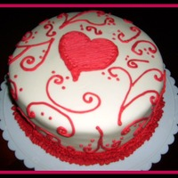 Valentine Fondant Cake   Fondant covered with buttercream icing used to pipe the design.