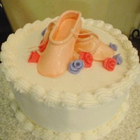 "Ballet Shoes Cake I made this for my daughter's first ballet recital. GP shoes and fondant ""Duff"" roses. I can't remember who did the..."