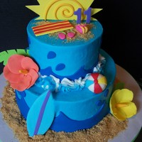 Beachy Birthday butter cream wth fondant and gumpaste decorations.