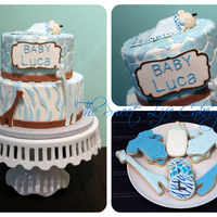 Blue Safari Baby Shower Bottom tier is white chocolate with buttercream and top tier is pumpkin cake with buttercream. Zebra stripes, giraffe print, giraffes, name...
