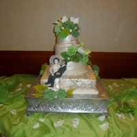 Wedding Cake wedding cake three flavors, chocolate, passion fruit and almonds, wedding flowers in frosting and gum paste