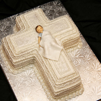 Christening! Pearlized, Gumpaste baby, Blanket, Cross