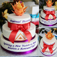 Delta Sigma Theta Regional Director Celebration Flame, red bow, purple ribbon, Delta Sigma Theta