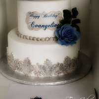 Antique! Silver, blue, gum paste roses