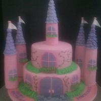 Princess Castle Cake Two tier fondant covered cake. Bottom tier is vanilla pound cake with vanilla buttercream. Top tier is red velvet with cream cheese...