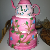 Tea Pot Cake Tea pot cake with cherry blossoms.