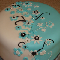 Blue And White Bday Cake   Made for a friend's daughter's bday cake.