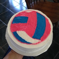 Vollyball B Day Cake my daughter made this but wanted me to put in on here because i helped. But I helped very little.