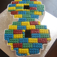 My Sons 8Th Birthday Cake He Had A Lego Themed Party And Id Seen Something Similar Done With Round Cakes So Tried With The Figure 8 A  My son's 8th Birthday Cake. He had a Lego themed party and I'd seen something similar done with round cakes, so tried with the...