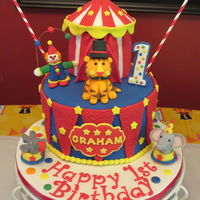 "Circus Theme Cake For My Grandsons First Birthday 8 Vanilla Cake Wvanilla Icing And Circus Tent Is 4 Chocolate Cake W Vanilla Icing Circus theme cake for my Grandson's first birthday! 8"" Vanilla cake w/vanilla icing and circus tent is 4"" chocolate cake w/..."