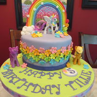 "My Little Pony 5Th Birthday 8"" Chocolate 3 layer cake for my granddaughter's birthday! All decorations are made from fondant. The ponies are toys since my..."