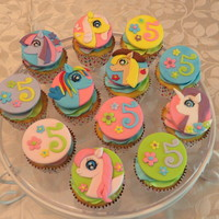 My Little Pony Cupcakes! My Little Pony cupcakes to go with the Little Pony cake for my granddaughter's 5th birthday! French vanilla with rainbow colored...