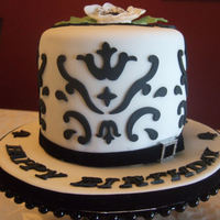 Black & White Damask Birthday Cake