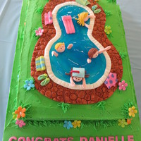 Pool Party For Graduation! I made this cake for my granddaughter's high school graduation! She had a pool party so had to have a pool cake!!! Cake is vanilla...