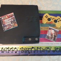 Ps3 For My Grandson's Birthday! PS3 cake for my grandson's 13th birthday! Cake is chocolate cake with chocolate icing and all decorations are made of fondant! Hate...