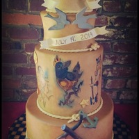 "Hand Painted Tattoo Cake I made this cake for a friend's wedding. They are very ""Punk Rock"" and it fit them to a tee. Everything is edible. The..."