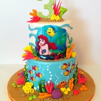 The Little Mermaid Cake I did for a friend's little girl who love The Little Mermaid. Ariel and friends are made from edible image. All coral made from...