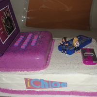 Icarly 2 layer sheet cake with buttercream icing and bavarian cream filling. Decorated with Icarly remote lipgloss and Icarly phone lipgloss. Top...