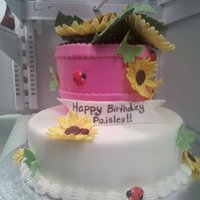 Sunflower 1St Birthday Cake strawberry cake with mmf and the flower pot was chocolate cake