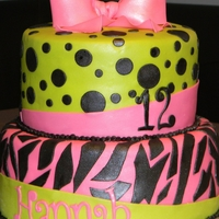 Lime Green & Pink Zebra Dot Cake