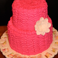 Pink Tiered Ruffle Cake Cake for my future sister-in-laws bridal shower. Decided to jump on the band wagon and do a ruffle cake!