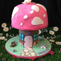 Fairy Toadstool Fairy toadstool chocolate cake and sugar modelled fairy. Cake with fondant and gumpast accents