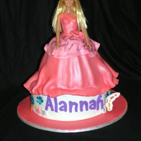 Barbie Birthday Cake Round dolly varden cake with fondant accents
