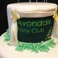 Anniversary Cake For A Pony Club 2 tier chocolate cake, chocolate ganache and fondant with gumpaste accents