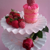 "For Mom Mini Strawberry Cake w/Cream Cheese Icing, ""sugared"" strawberries (uses sanding sugar)"