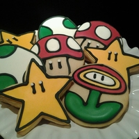 Mario Bros Cookies Party Favors to match a Bday Cake