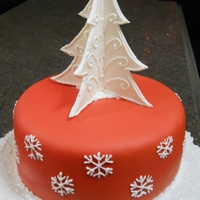 Red And White Christmas Tree Cake I always love red and white together for Christmas designs, and I did these snowflakes for cookies a couple of weeks ago, so I decided to...