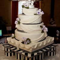 Purple,black And White Wedding Cake