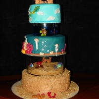 """floating"" Tiered Beach Theme Cake"