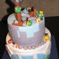 Angry Birds cake iced in bc. fondant decorations