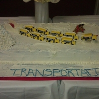 Transportation Department Holiday Cake I drive a school bus and for our holiday party, I did a cake where the school busses are the reindeer pulling the sleigh. Rudolph is the...