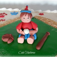 Baseball Birthday Cake   1/2 sheet chocolate cake iced with butter cream icing and fondant accents.