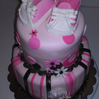 Baby Shower - Pink-N-Brown Cake was a replica of another, thanks to the orginal designer. Shoe tutorial was found on here, thank you again!