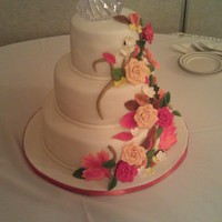 Fall Leaves And Flowers 3 tiers, all marble on request from bride. Mmf and gumpaste flowers and leaves.