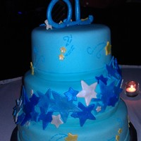 Shooting Stars This was for an 18th birthday. 3 tiers. Cake and decorations are all MMF, it was my first time using it and wont be the last ( Loved it...