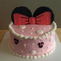 Minnie Mouse Cake Buttercream Icing With Colorflow Ears And Bow Minnie mouse cake. Buttercream icing with colorflow ears and bow